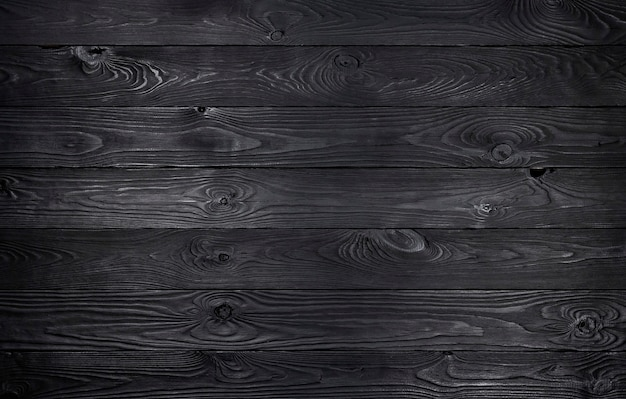 Black wooden background, old wooden planks texture