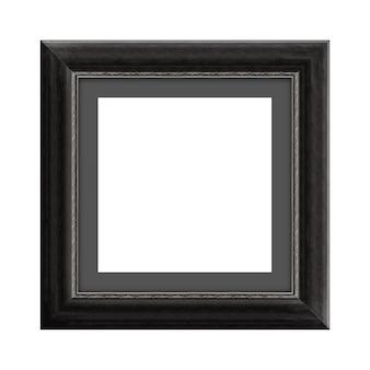 클리핑 패스가 있는 흰색 배경에 격리된 사진 또는 사진을 위한 검은색 나무 프레임 프리미엄 사진