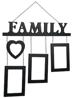 Black wooden photo frame with text family