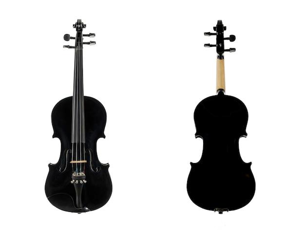 Черная деревянная скрипка, изолированные на белом фоне