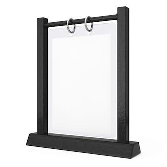 흰색 바탕에 검은 나무 흰색 빈 투명 테이블 접시 플립 메뉴 카드 홀더. 3d 렌더링