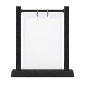 Black wooden white blank transparent table plate flip menu card holder on a white background. 3d rendering