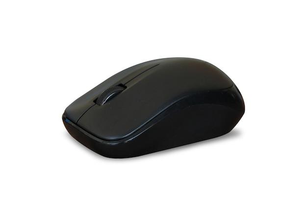 クリッピングパスと孤立した白い背景の上の黒の無謀なマウスコンピュータ。
