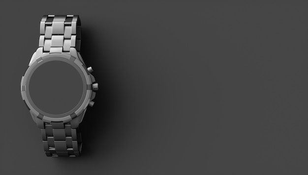 Black wristwatch on black, 3d illustration