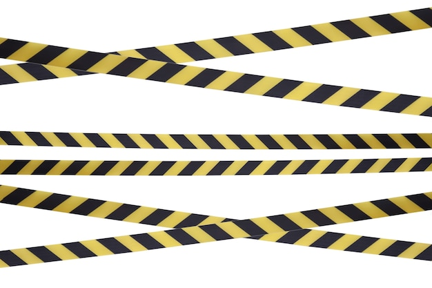 Black and yellow lines of barrier tape prohibit passage. Premium Photo