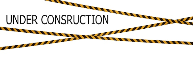 Black and yellow lines of barrier tape with under construction title. tape on white isolate. barrier that prohibits traffic. warning tape. danger unsafe area warning do not enter. concept of no entry