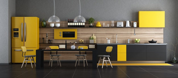 Black and yellow modern kitchen