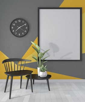 Black and yellow room geometric wall art paint  color full style on wooden floor.3d rendering