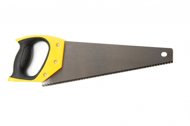 Black and yellow saw isolated