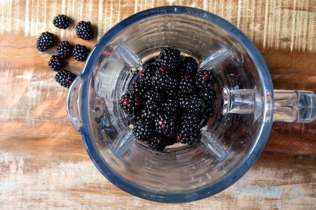 블렌더 평면도에 블랙 베리. 붉은 열매.