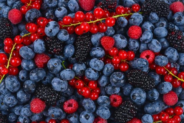 ブラックベリー、ラズベリー、ブルーベリー、赤スグリ、ミントの背景。
