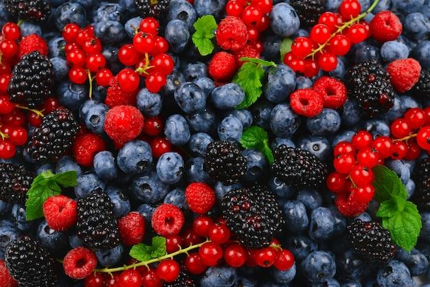 ブラックベリー、ラズベリー、ブルーベリー、赤スグリ、ミントの背景