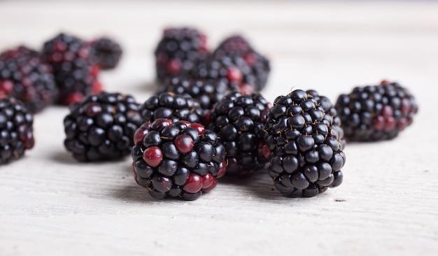 Blackberry on wooden table