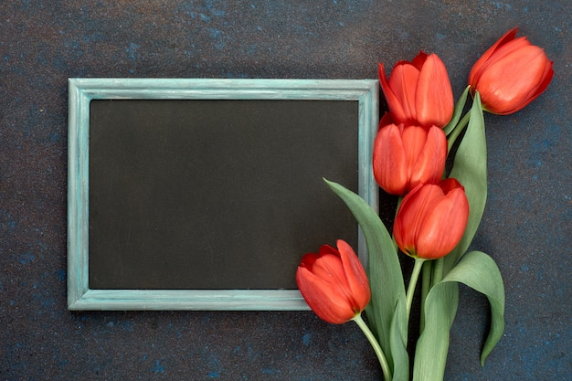 Blackboard and bunch of red tulips on abstract dark background, space for your test