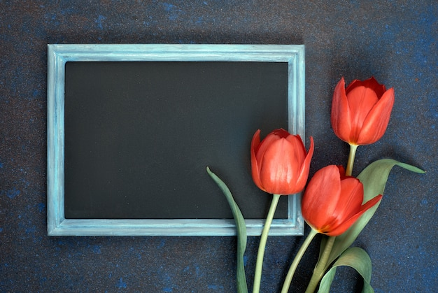 Blackboard and bunch of red tulips on abstract dark background