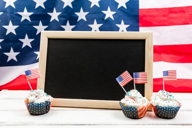 Blackboard and cakes for independence day