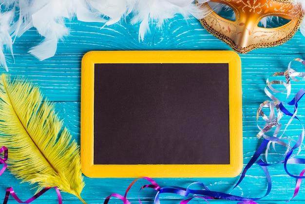 Blackboard and carnival decorations