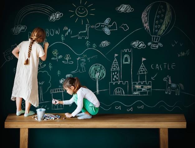 Blackboard drawing creative imagination idea concept