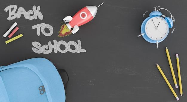 Доска для возвращения в школу с ракетой и будильником