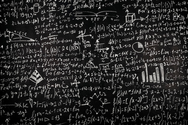 Blackboard inscribed with scientific formulas and calculations in physics and mathematics, background image