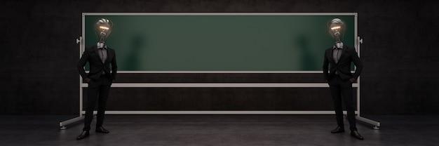 Доска или классная доска с темным фоном 3d-рендеринга