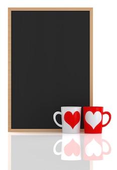 흰색 배경, 3d 렌더링에 커피 컵과 칠판