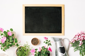 Blackboard with flowerpots and watering can