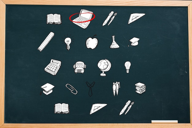 Blackboard with icons
