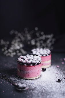 Blackcurrant cheesecake dusted with sugar powder
