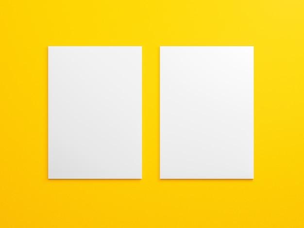 Пустой макет брошюры a4 на желтом.
