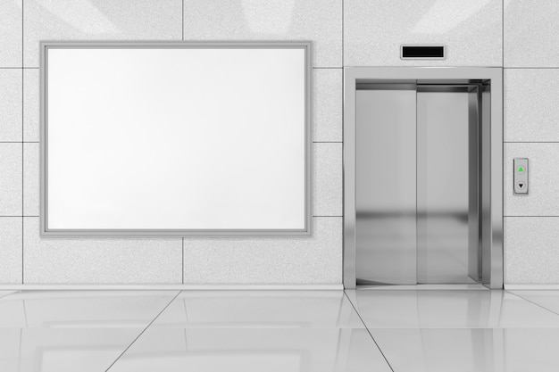 Blank ad billboard or poster near modern elevator or lift with metal doors in office building extreme closeup. 3d rendering