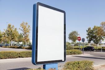 Blank advertisement light box in the street
