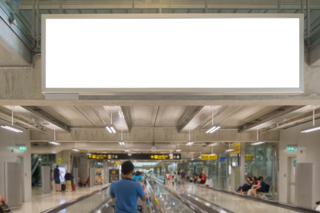 Blank advertising billboard at the airport