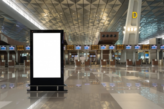 Blank advertising billboard  in the airport