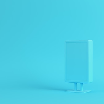 Blank advertising billboard on bright blue background