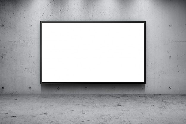 Blank advertising billboard led panel on concrete wall building street roadside background
