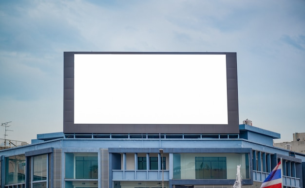 Blank advertising billboard on the road