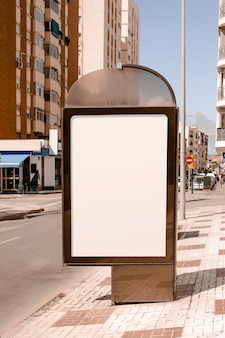 Blank advertising stand near the street in the city