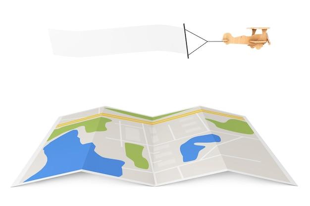 空白の航空広告。白い背景の上の都市地図上の空のバナーと木のおもちゃの飛行機。 3dレンダリング