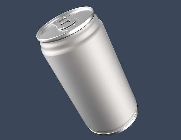 Blank aluminium can mockup on clear background.