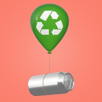 빈 알루미늄 캔은 분홍색 배경에 재활용 기호가 있는 녹색 헬륨 풍선과 함께 떠 있습니다. 3d 렌더링