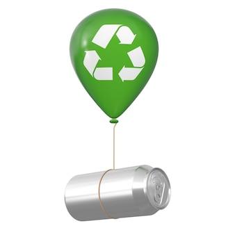 빈 알루미늄은 흰색 바탕에 재활용 기호가 있는 녹색 헬륨 풍선과 함께 떠 있을 수 있습니다. 3d 렌더링