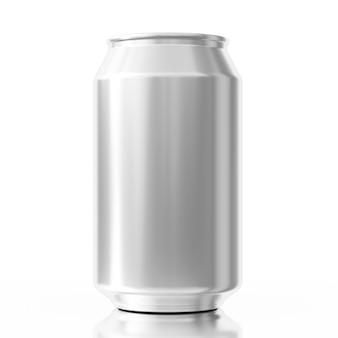 흰색 배경에 디자인을 위한 여유 공간이 있는 빈 알루미늄 캔. 3d 렌더링