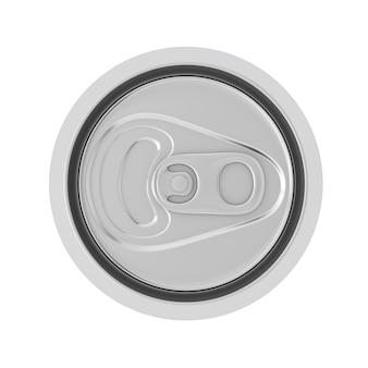 흰색 배경에 빈 알루미늄 청량 음료, 코다, 맥주 캔 탑 뷰. 3d 렌더링
