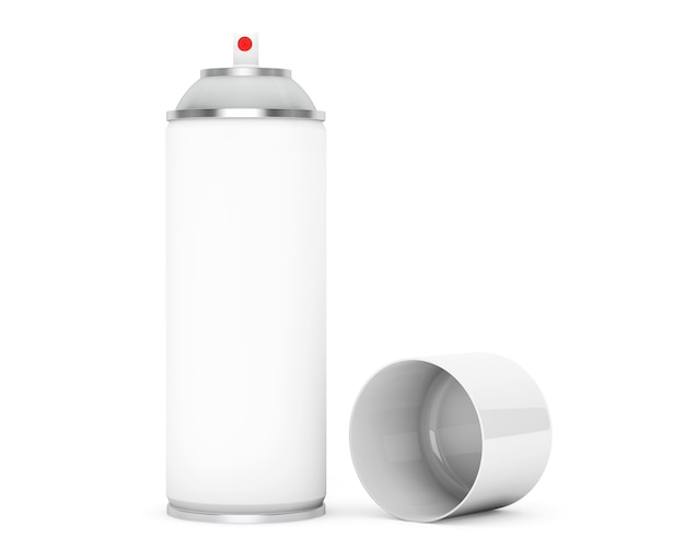 Blank aluminum spray can on a white background