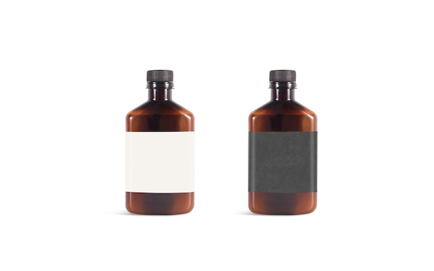 Blank amber plastic bottle with black and white label