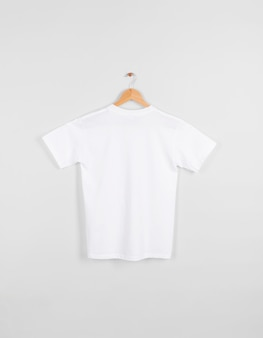 Blank back white t-shirt hanging isolated on gray space.