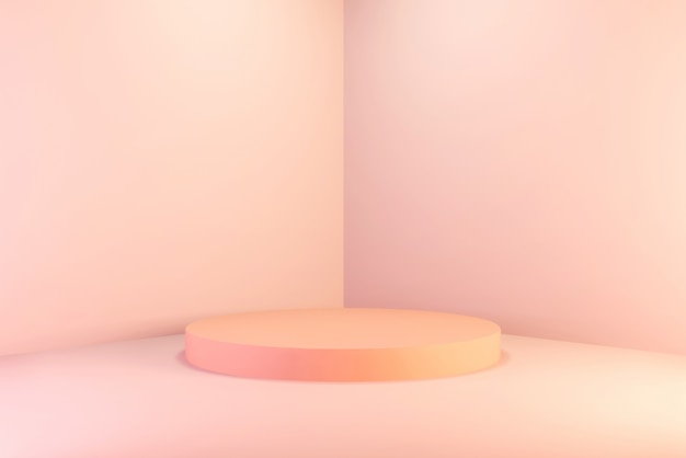 Blank background abstract wall corner scene 3d rendering minimal pink circle gradient podium, for poduct.