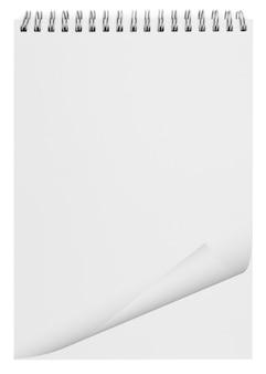 白で隔離の空白の背景紙スパイラルノート