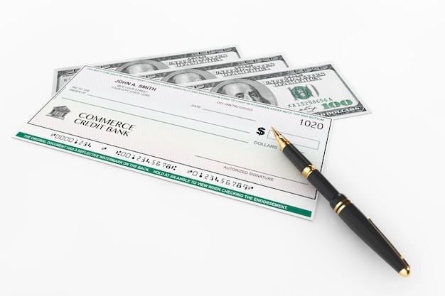 흰색 바탕에 달러 지폐가 있는 빈 은행 수표 및 만년필